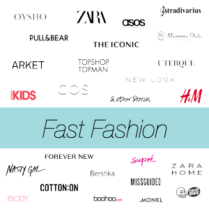 fast fashion retail logo with turq band across