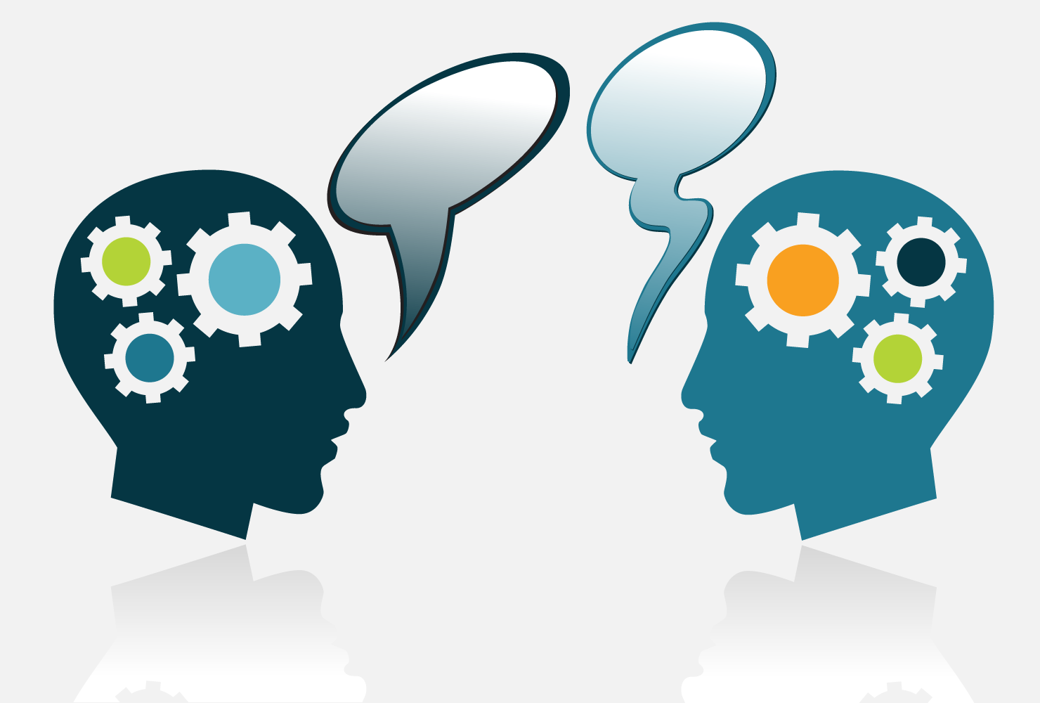 two heads with cogs and space bubbles indicating having a conversation